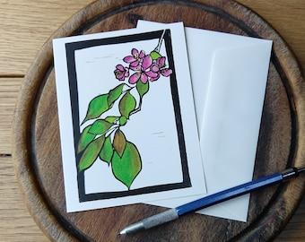 Red Flowers on Branch Notecard, Spring Notecard Blank with Envelope, Digital Block Print Notecard, Stationery, Vermont Artist