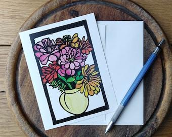 Summer Dreams Notecard, Vermont Notecard Blank with Envelope, Digital Block Print Notecard, Stationery, Vermont Artist