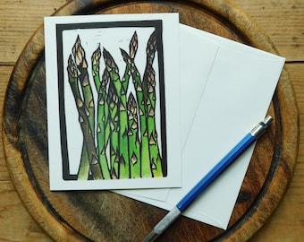 Asparagus Notecard, Vermont Notecard, Blank with Envelope, Digital Block Print Notecard, Stationery, Vermont Artist