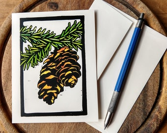 Pinecones Notecard, Winter Notecard Blank with Envelope, Digital Block Print Notecard, Stationery, Vermont Artist