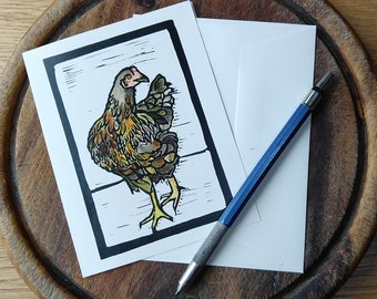 Chicken Notecard, Vermont Notecard, Blank with Envelope, Digital Block Print Notecard, Stationery, Vermont Artist