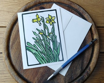 Daffodils Notecard, Vermont Notecard, Blank with Envelope, Digital Block Print Notecard, Stationery, Vermont Artist