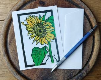 Sunflower Notecard, Summer Notecard Blank with Envelope, Digital Block Print Notecard, Stationery, Vermont Artist