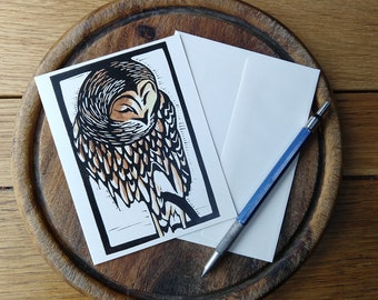 Brown Owl Notecard, Vermont Fall Notecard, Blank with Envelope, Digital Block Print, Stationery, Vermont Artist