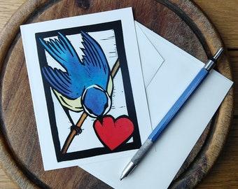 Blue Bird with Heart Notecard, Fall Notecard Blank with Envelope, Digital Block Print Notecard, Stationery, Vermont Artist