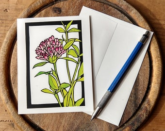 Vermont Clover Notecard, Nature Notecard Blank with Envelope, Digital Block Print Notecard, Stationery, Vermont Artist