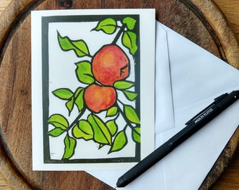 Vermont Apples Notecard, Fall Notecard Blank with Envelope, Digital Block Brint Notecard, Stationery, Vermont Artist
