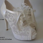 HANDMADE Wedding shoes, Bridal, Bridesmaid, Brides, Handmade shoes, French GUIPURE lace, ivory /pearl color and via UPS
