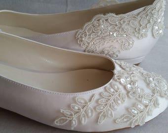 Wedding Shoes, Wedding Flat / IVORY Flat, Handmade Lace Ivory Flat Wedding  Shoes Designed Specially #1006