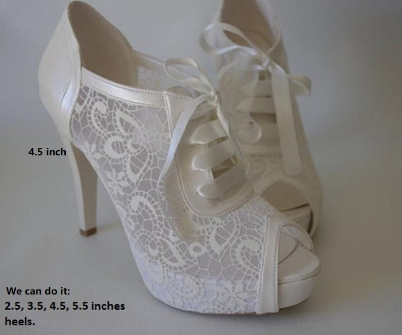 HANDMADE Wedding shoes  French lace and pearls bride shoes image 0