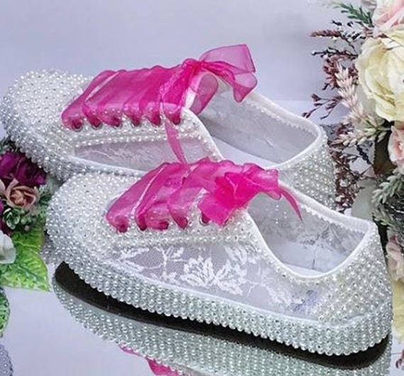 dd32d6ba4b5f Sports Pearl design Bridal Shoes Wedding shoes Handmade