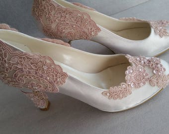 Wedding shoes, Bridal shoes, Bridesmaid shoes, Bride shoes, Handmade shoes, GUIPURE lace wedding shoes , Choose heel height and color #8445