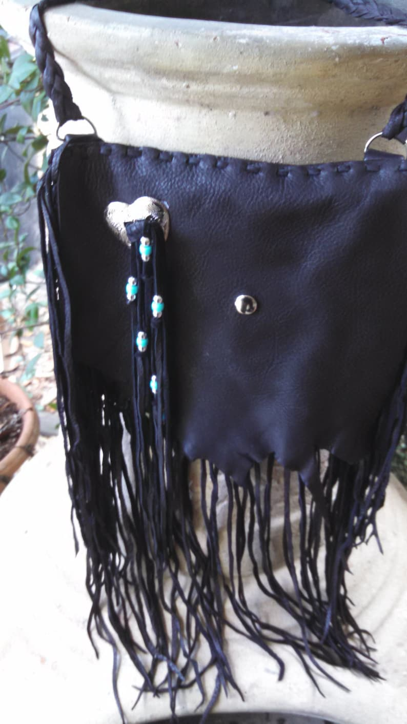 Shoulder Purse With Fringe Concho and Silver and Teal Beads Hip Bag Black Deerskin Purse