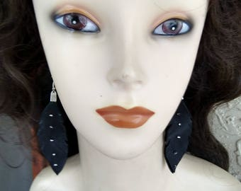 Native American Black Deerskin Leather Feather Earrings With Silver Beads