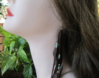 Black Leather Deerskin  Earrings With Silver And Turquoise Beads And Leather Feathers