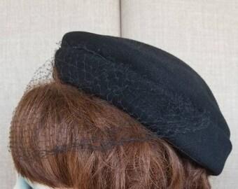 """Vintage Women's Black Veiled Hat """"Merrimac"""""""
