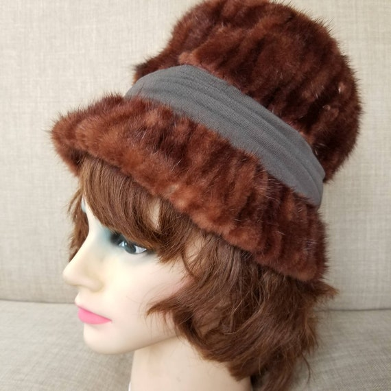 "Vintage Women's Brown Fur Hat ""Designed by Laura"""