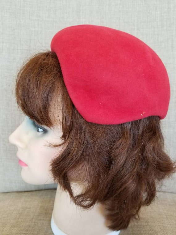 ethnic style embroidered winter cap with concealed ear flaps and bill antique hat vintage red felt cap with ear flaps