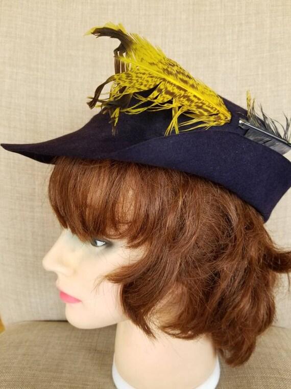 """Vintage Women's Dark Blue Felt Hat """"Clover Lane"""""""