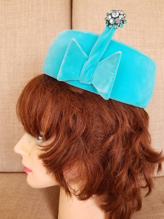 "Vintage '60s Women's Blue Pillbox ""Betmar"" Hat"