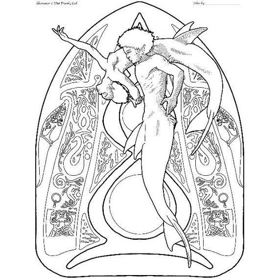 Sirena da colorare pagina pas de deux 06 etsy - Colorazione sirena pagina sirena ...