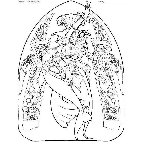 Sirena para colorear página alta costura 06 | Etsy