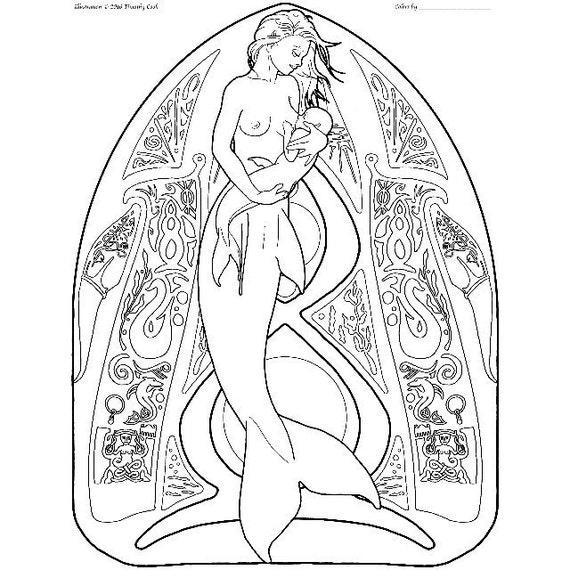 Sirena para colorear página pas de deux 12 | Etsy