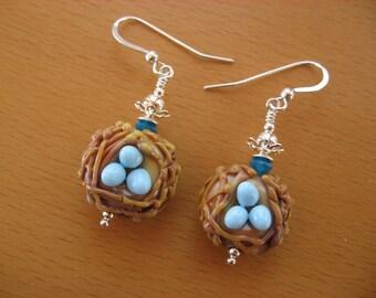 Robins Eggs Earrings, Robins Nest, Bird Nest, Lampwork Earrings, Spring Earrings, Birds Nest Earrings, Eggs, Blue Eggs, Birds, Animals