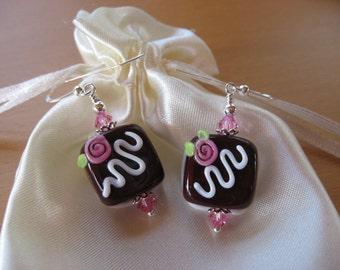 Candy Earrings, Chocolates, Lampwork Earrings, Valentines Day Earrings, Dark Chocolates, Handmade Lampwork Beads, Glass Candy