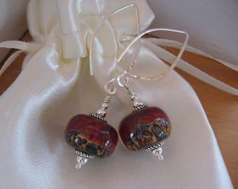 Borosilicate Lampwork Earrings, Animal Print Red Earrings, Long Modern Earrings, Handmade Lampwork, Long Handmade Sterling Silver Earwires