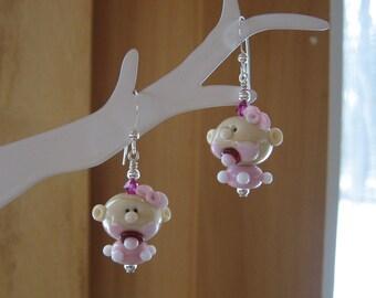 Baby Girl Earrings, Baby Earrings, Baby Pacifier, Twin Baby Girl Earrings, Baby Girl Glass Earrings, Lampwork Baby Girl Earrings