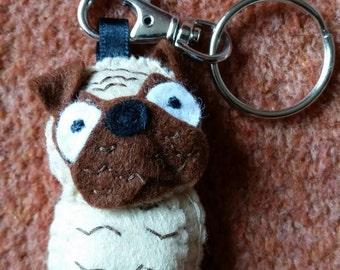 Pug dog keyring
