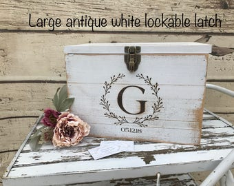 White Rustic Wooden card box Personalized  Lockable card box   Wedding Card box