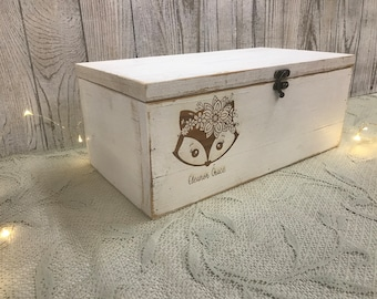 Child Keepsake box  Memory Box  Rustic Wooden box woodland keepsake box
