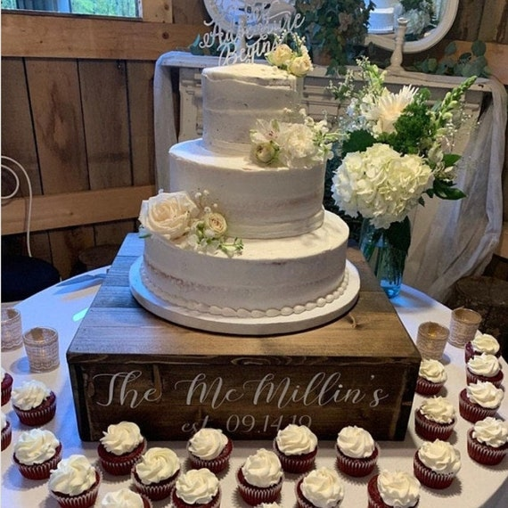 Wedding Cake Stand 9x9 Cake Stand  Rustic Wedding Cake Stand  Wedding  Cupcake Stand  Tiered Cupcake stand