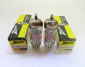 pair Zenith 6EJ7 vacuum tubes - new old stock - made in Germany - original boxes - mesh plates - excellent condition - EF184 tube