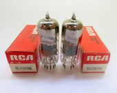 matched pair RCA 6EJ7 vacuum tubes - perforated plate - new old stock - made in Mexico - original boxes - EF184 tube