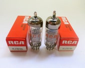 matched pair RCA 6EJ7 vacuum tubes - new old stock - made in Germany - original boxes - mesh plates - excellent condition - EF184 tube