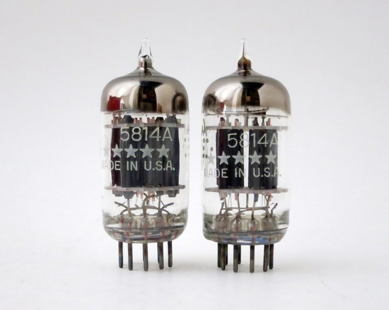 pair General Electric 5814A 5 Star vacuum tubes new old stock triple mica
