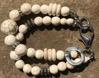 Two Strand Howlite Stress Reducing Healing Bracelet Strength Wisdom Enlightenment Healing Stone Spiritual Yoga Chakra Serenity CalmingStone