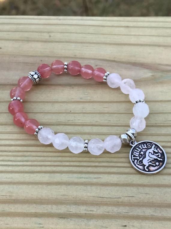 Taurus Zodiac Charm Bead Bracelet Astrological Rose Quartz Etsy