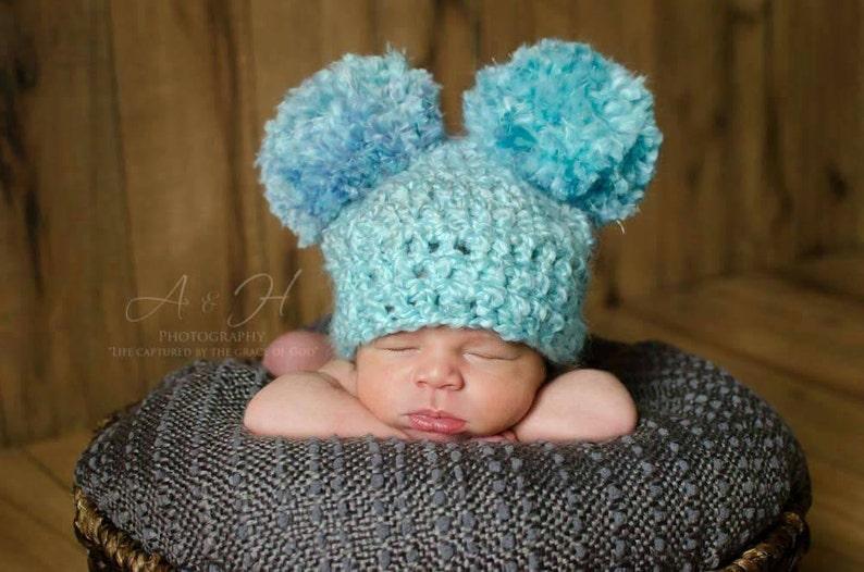 27a4a5bb6e5 Baby pom pom hat Blue pom pom hat Double pom pom hat