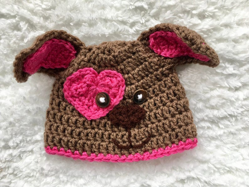 61ba3c5c8e6 Puppy Dog hat Crochet puppy Dog Hat Newborn Photo Prop Girl