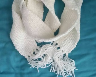 Hand Knit White Ribbed Scarf