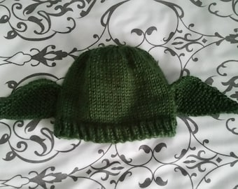 ee6cfda7276 Hand-Knit Dark Green Yoda Baby Beanie and Diaper Cover Set