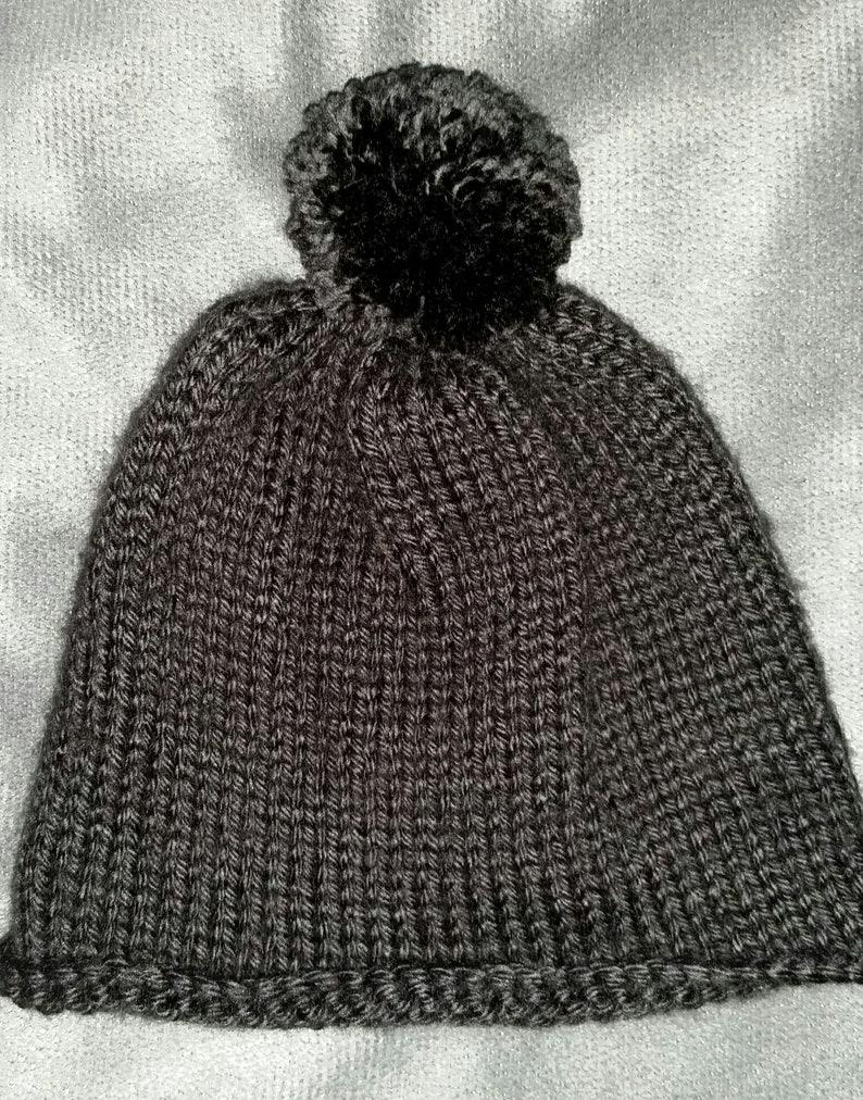 Hand-Knit Black Roll Brim Baby Beanie