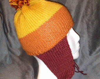 Hand Knit Wool Blend Cunning Red, Orange, and Yellow Hat with Earflaps