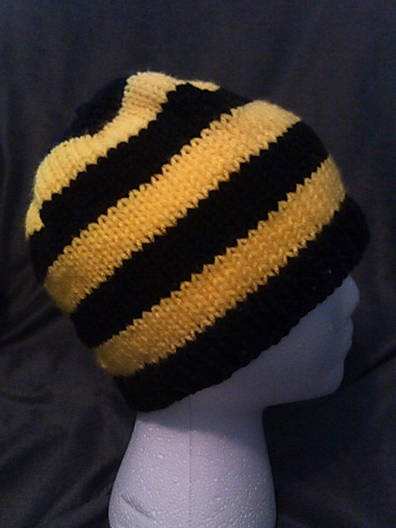 Hand Knit Black and Yellow Striped Beanie  a2dbbd6470e