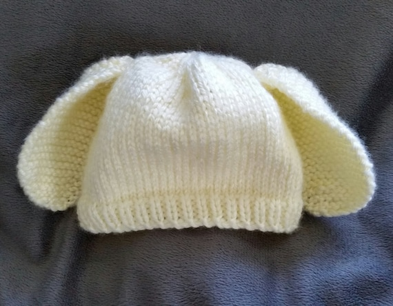 960fd9d52ef Hand-Knit Off-White Bunny Baby Beanie