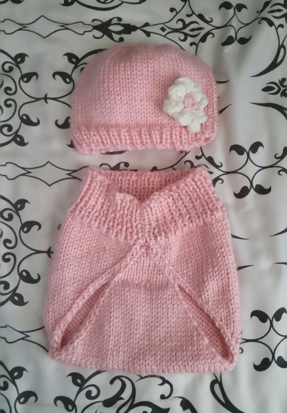 f3b7f97468b Hand-Knit Soft Pink Baby Beanie with Flower and Diaper Cover